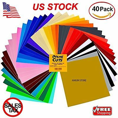 Transfer Vinyl Adhesive 40 Sheets Pack Color Sheets for Cricut Silhouette NEW