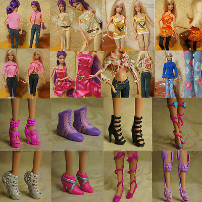 Set Fashion Party Daily Wear Dress Outfits Clothes Shoes For Barbie Doll Girl AU
