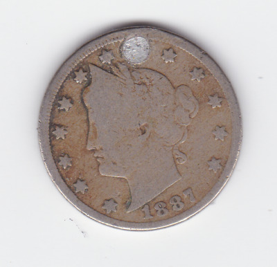 1887 Liberty Barber V 5 Cents Liberty Nickel United States America Coin A-423