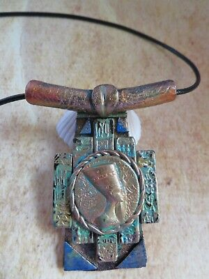 Unique Artisan Ancient Antique Gold Egyptian Nefertiti Women Necklace Pendant