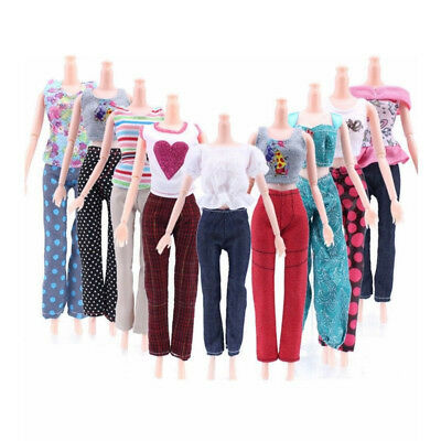 5 Tops + 5 Pants Gift Casual Summer Clothes Outfit  Set For Kids Doll Paly Toy