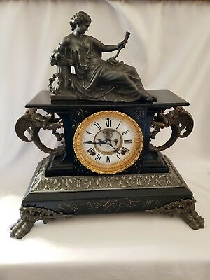 Antique Ansonia Belgium Cast Iron enamel Clock~figural Dragon~Griffin~Excellent