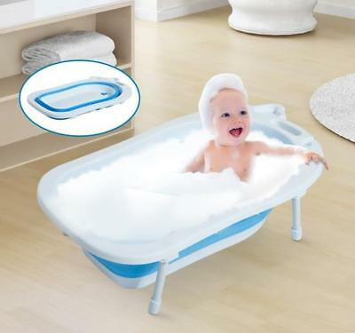 Foldable Infant Bath Tub With Handle & Soap Holder 89Cm White Blue Baby Bathtub