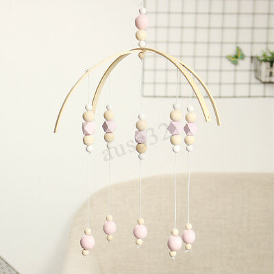 DIY Wooden Beads Baby Crib Mobile Bed Bell Holder Arm Bracket Wind-up Toy Gift