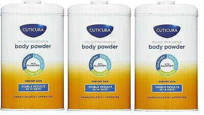 3 x Cuticura Mildly Medicated Talc Talcum Powder - Skin Soothing Allantoin -250g