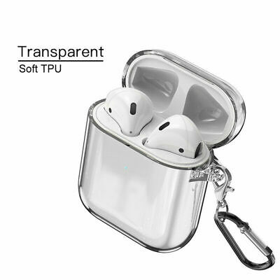 For Apple AirPods Accessories Clear Crystal Case Silicone Cover With Carabiner