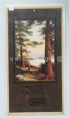 1928 antique JOHN LEWIS JEWELER OPTOMITRIST CALENDAR little falls ny GOZZARD