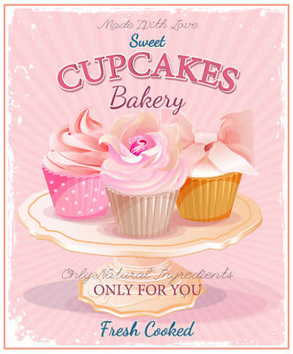 Cupcakes, Bakery, Vintage Metal Sign, Retro Plaque, Cafe Bar, Coffee Shop