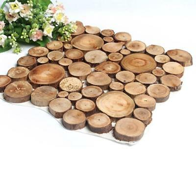 100x Natural Pine Wood Slices Round Disc Tree Bark Wood Chips Circle Decor Z6N1