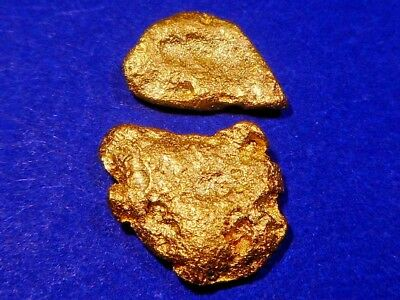 Two Brilliant Sparkling Australian Gold Nuggets ( 1.35 grams ).