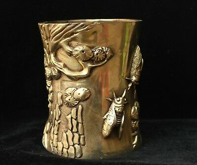 Marked Chinese Palace Brass Carved Cicada Pine Statue Brush Pot pencil vase