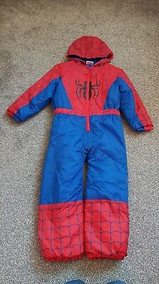 Spiderman All In One Padded Suit Age 7-8  Zip Front Hardly Worn Elasticated...