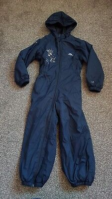 Trespass Rainsuit Navy Blue Age 5-6 Fleece Lined Tapered Seams, Great For The...