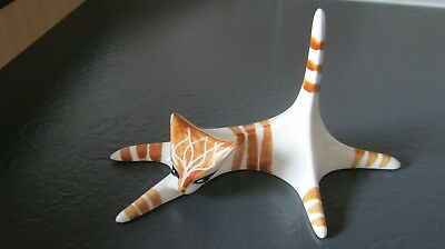 Vintage Jersey Pottery Ginger & White Stylised Cat - Signed
