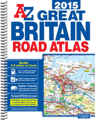 Great Britain Road Atlas Spiral 2015, Geographers A-Z Map Co Ltd, Used; Good Boo
