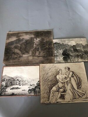 Group of Four Antique Victorian Sketches - Landscape, Classical, Castles etc
