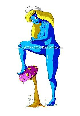 Works of Freedom: ORIGINAL ART | Smurfette Pinup Print