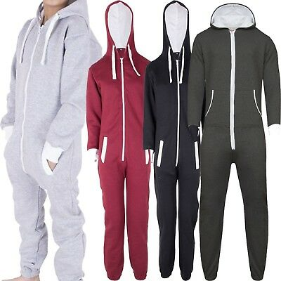 Kids Unisex Boys Girls Plain Hooded One- Piece  All in one Jumpsuit Playsuit
