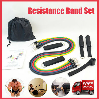 Resistance Band Set Yoga Pilates Abs Exercise Fitness Tube Work out Bands 11 PCS