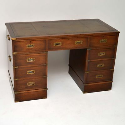 Antique Military Campaign Style Mahogany Desk