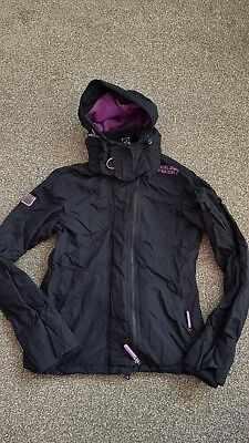 Superdry Ladies Small Windcheater Black Jacket snug neck and multi zip
