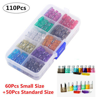 110Pcs Assorted Auto Car Small+Standard Size Blade Fuse 2-35 AMP Insurance w/Box