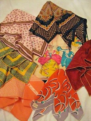 Vintage Lot of Scarves And Klein Glentex SILK Rayon Hand Rolled & OTHER 7PC LOT