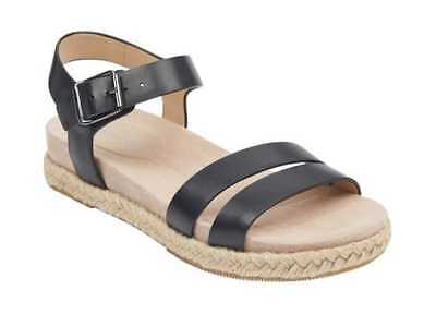 3a22af8d921 Easy Spirit Women s Ixia Ankle Strap Espadrille Black Leather Buckle  Fastening