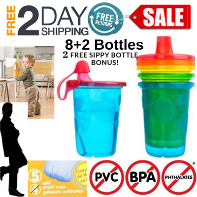Baby Kid Bottle Sippy Cup Spill Proof Fun Straw Colors Reusable 10 Ounce, 10 Pcs