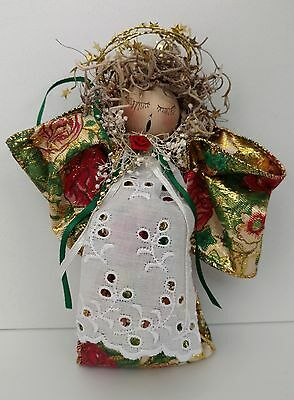 Handmade Craft Detailed Singing Angel Christmas Ribbon Ornament-Adorable! - EUC