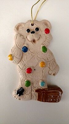 Vintage Ceramic Bear Christmas Lights Ornament- Rare - Nursery - Baby - Exc Cond