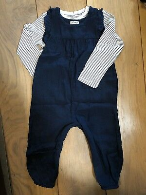Next Linen Navy Girls Dungarees 1.5-2yrs