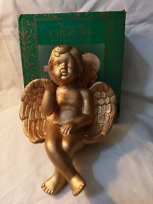 pre-owned Terracotta Antique Gold Painted Cherub Can Sit On Self Ledge