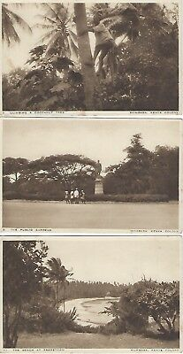 3 vintage postcards of Mombasa Nos. 2, 7 and 11 - blank on reverse