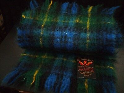 Beautiful VINTAGE Scottish CREAGARAN MILLS Plush Mohair Scarf Wrap Stole GREEN.