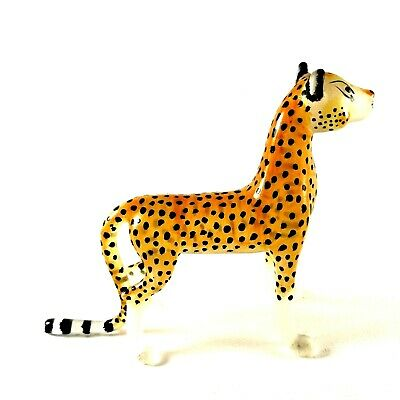 Figurine Miniature Blown Glass Cheeta Tiger Animal Collectibles Hand Art