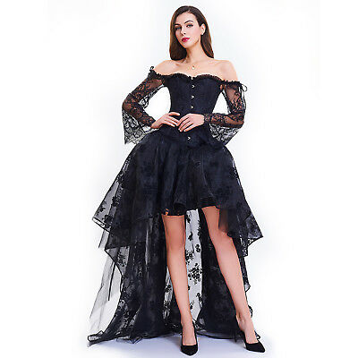 Women Gothic Steampunk Corset Dress Lace Up Vintage Party Punk High Low Dress