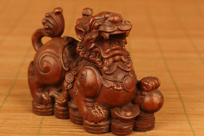 bIG Chinese old Boxwood Hand Carved Kylin statue Figure