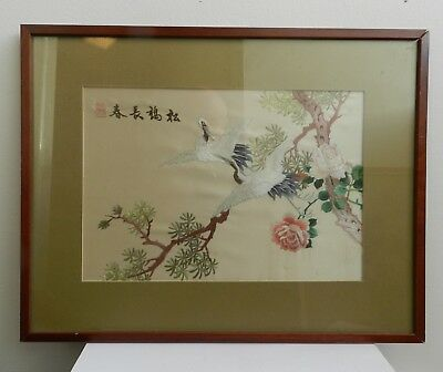 Vintage / Antique Framed Chinese Silk Embroidery Picture Birds Flowers