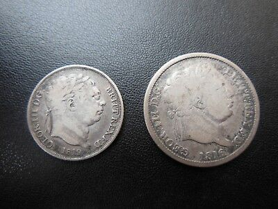 Very Nice George III 1819 Sixpence And 1816 Shilling Silver Coins