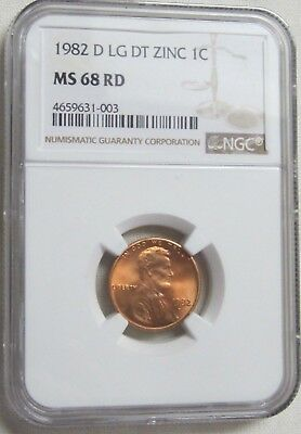 1982 D Lincoln Memorial Cent/Penny - Zinc - Large Date - NGC MS 68 RD (1-003)