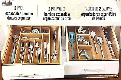 Seville Classics 2-Pack Expandable Bamboo Drawer Organizer Home, Kitchen, Bath