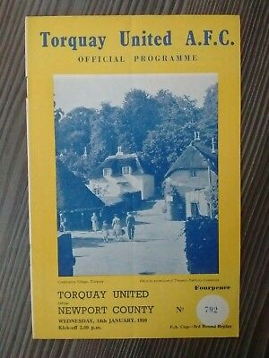 Torquay United v Newport County F A Cup 3rd Round Replay January 14th 1959 Rare