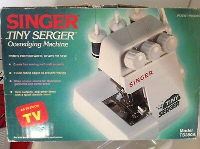 Singer Tiny Serger TS380A Over edging Mini Small Portable Sewing Machine in Box