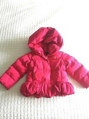 Polo Ralph Lauren 2T Girl Peplum Puffer Pink Down Jacket Coat Toddler