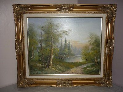 ORIGINAL OIL PAINTING ON CANVAS Landscape Woodland Scene Ornate Gold Frame