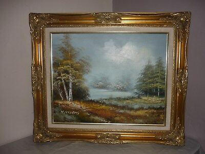 ORIGINAL OIL PAINTING ON CANVAS Landscape Scene in Ornate Gilt Gold Frame
