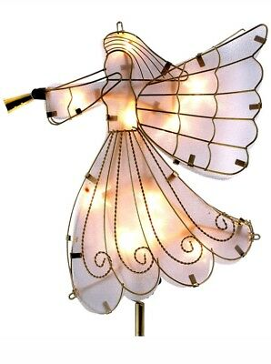 NEW Trim A Home Christmas Tree Angel Topper Lighted White Gold 9 x 5 x 10.5 in