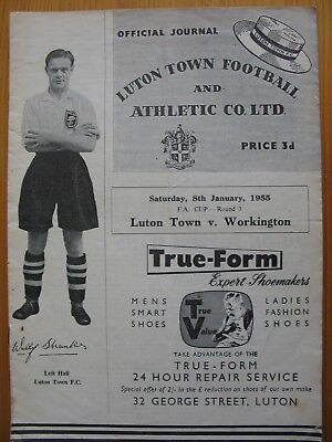 LUTON TOWN v WORKINGTON F.A.CUP 3rd ROUND 8th JANUARY 1955