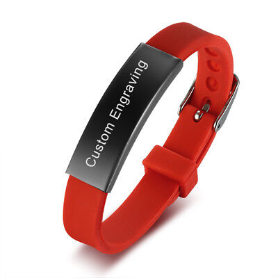 Red Kids Teen Bracelet Armband Silicone Band Bangle Free ID Customized Engraving